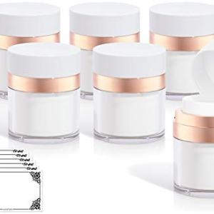 Rose Gold Luxury Airless Refillable Jar 1.7 oz / 50 ml (6 pack) + Labels for Travel