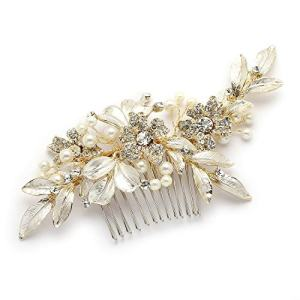 Mariell Designer Gold Bridal Hair Comb with Hand Painted Silvery-Golden