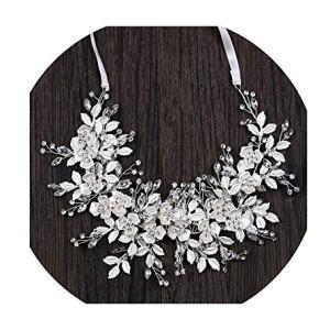 Luxury Silver Handmade Ribbon Rhinestone Crystal Leaves Floral Bridal