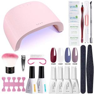 AZUREBEAUTY Gel Nail Polish Starter Kit with 48W UV/LED Lamp