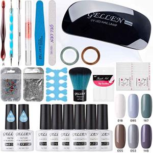 Gellen Gel Nail Polish Starter Kit - Cold Gray 6 Colors, with Top Coat Base Coat Nail LED Lamp Nail Art Designs Rhinestones Manicure Tools