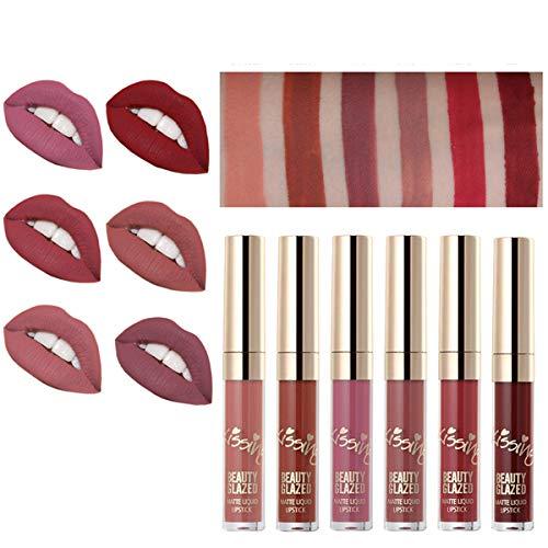 6pcs Matte Velvety Liquid Lipstick Matte Liquid Lipgloss Waterproof Lip Gloss Specifics: