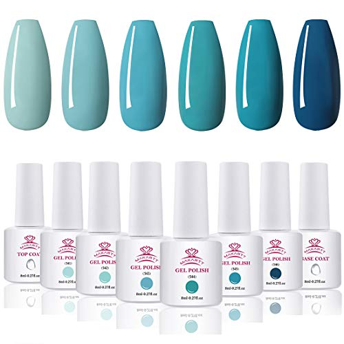 Makartt Gel Nail Polish Kit - 6 Blue Fall Winter Colors UV Nail Gel Polish