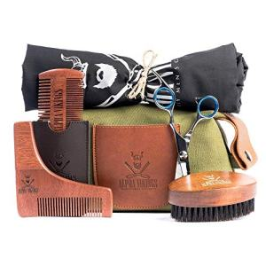 Alpha Vikings Beard Care Grooming Kit for Men. Maple Wood Beard Brush