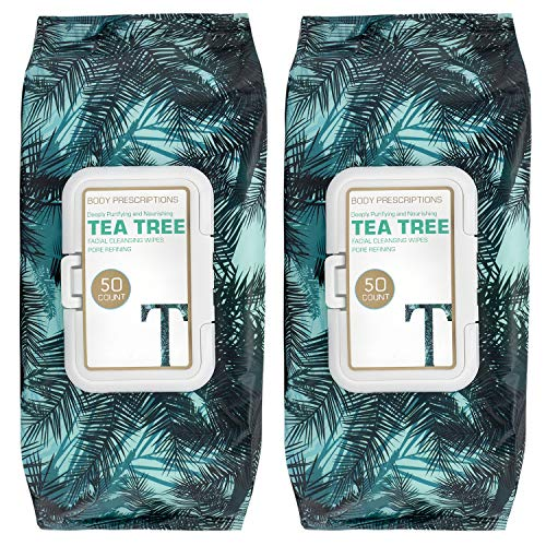 Body Prescriptions 2 Pack (50 Count Each) Tea Tree Facial Cleansing and Gentle Make