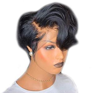 Short Lace Front Wigs Pixie Cut Wig Wavy Brazilian Remy Hair Wigs Glueless