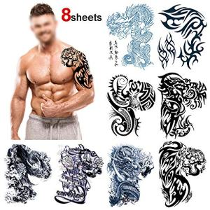 Konsait Large Temporary Tattoos Half Arm Chest Tattoo Men Tribal Totem Tattoo