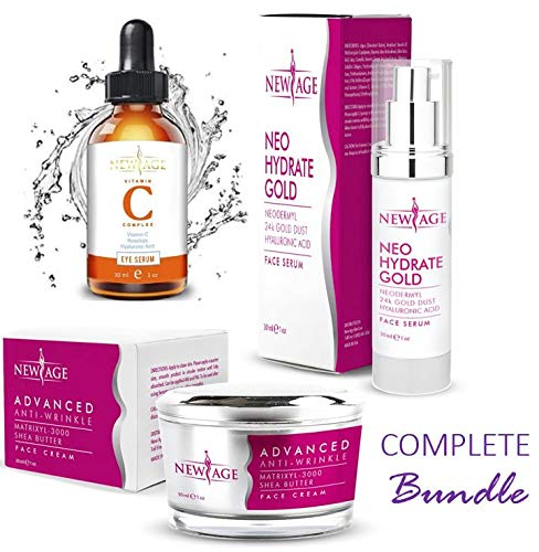 New Age Skin Care Beauty Box (Set of 3) Gift Set Vitamin C And Hyaluronic Kit