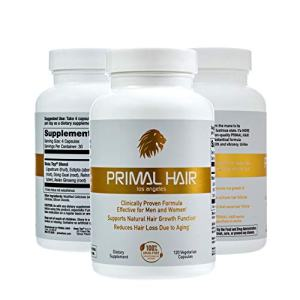 PRIMAL HAIR 3pk: Hair Growth & Hair Loss Treatment, Hair Thinning Supplement
