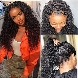 Luduna Wet and Wavy Wigs Deep Curly Human Hair Lace Front Wigs