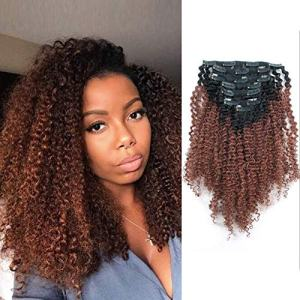 AmazingBeauty 3C 4A Big Afro Curly Ombre Hair Extensions Double Weft