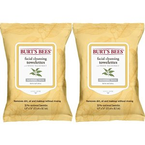 Burt's Bees Facial Cleansing Towelettes for Normal Skin with White Tea Extract, 60 Count