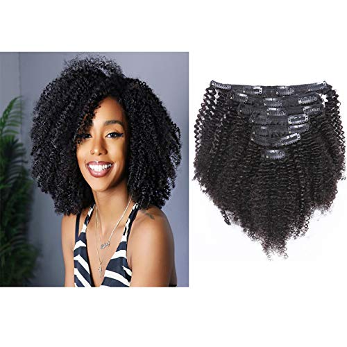 8A Grade Brazilian Remy Hair Clip in Extensions Afro Kinkys Curly Clip Ins