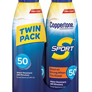 Coppertone SPORT Continuous Sunscreen Spray Broad Spectrum SPF 50 (5.5 Ounce per Bottle, Pack of 2) (Packaging may vary)
