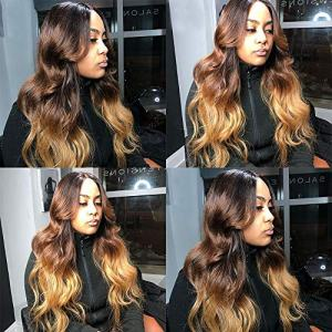 Ombre Human Hair Bundles with 5x5 Closure,SHOWJARLLY 8A Grade Brazilian