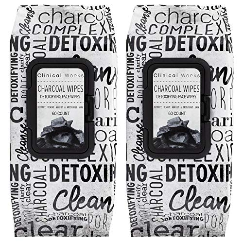 Clinical Works - 2 Pack (60 Count Each) Charcoal Detoxifying Face Wipes
