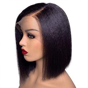 Fenjun 13x6 Lace Frontal Wig Yaki Straight Human Hair 14 Inch Short Bob Wigs