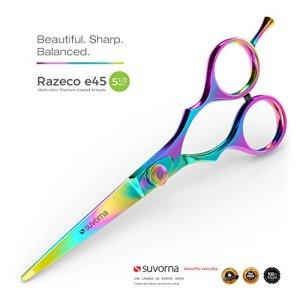 """SUVORNA 5.5"""" Professional Barber Multicolor Titanium Razor Edge Hair Cutting"""