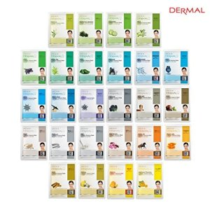 DERMAL 26 Green & Yellow Combo Pack Collagen Essence Full Face Facial Mask