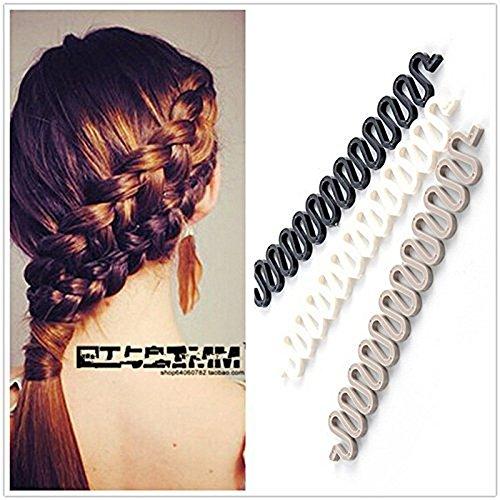 3Pcs (Black,Grey,White) Women Hair Styling Clip DIY French Hair Braiding Tool