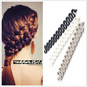 3Pcs (Black,Grey,White) Women Hair Styling Clip DIY French Hair Braiding Tool