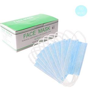 HEAR Blue Disposable Face Masks for Dust and Germ Protection Breathable Comfortable Sanitary Masks for Cleaning and Pollen with Filter Layer(Box of 50)