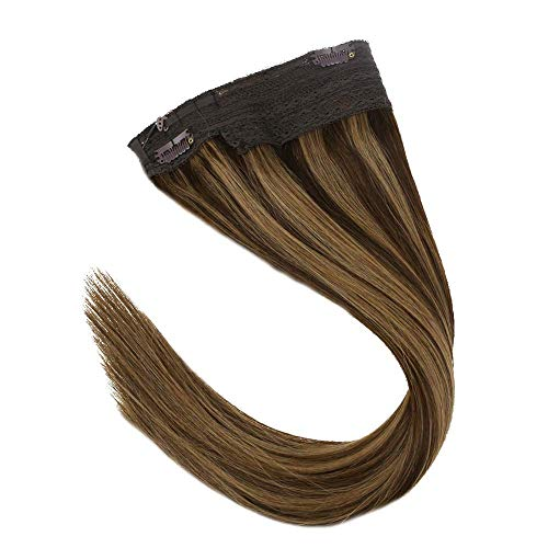 VeSunny 16inch Halo Hair Extensions Human Hair Color #4 Dark Brown Mixed