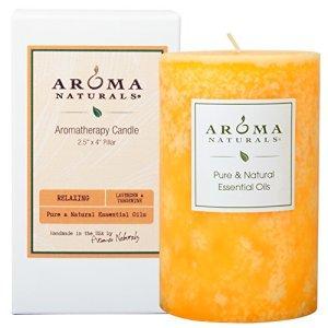 Aroma Naturals Essential Oil Lavender & Tangerine Scented Pillar Candle