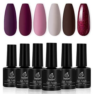 Beetles Gel Nail Polish Set, Berry Merlot Series 6 Colors Nail Art Gift Box
