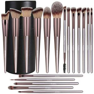 BS-MALL Makeup Brush Set 18 Pcs Premium Synthetic Foundation Powder Concealers Eye shadows Blush Makeup Brushes Champagne Gold Cosmetic Brushes with Black Paper Case
