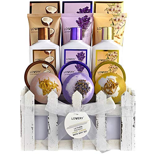 Home Spa Gift Baskets For Women & Men - 16 Piece Set of Coconut