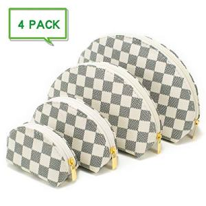 4 Set of Cosmetic Bag Luxury Make Up Bag Shell Shape Toiletry Travel Bags (White 1)