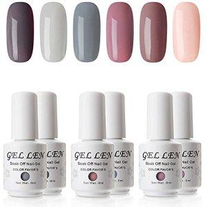 Gellen Gel Nail Polish Set - Nude Grays 6 Colors, Popular Nail Art Colors UV LED