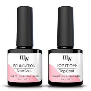 MelodySusie Gel Nail Polish No Wipe Top Coat and Base Coat Set
