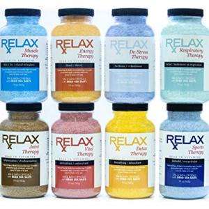 Rx Aromatherapy Luxury Spa and Bath Salts, Bundle of 8, 19 Ounce Bottles