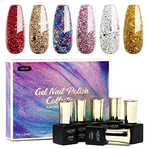 Glitter Gel Nail Polish Set 6pcs - Stunning Colors Glitter Series Nail Art Gift Box