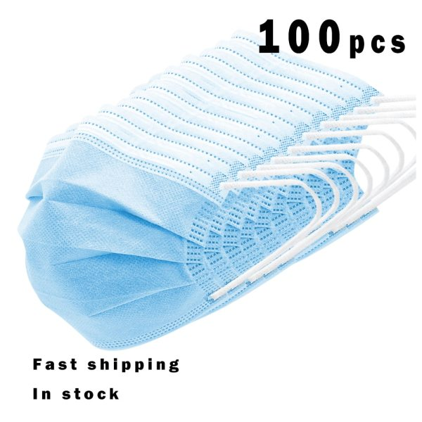 100pcs Disposable Medical Masks Anti Virus Surgical Face Mask 3 Layer Breathable Comfortable Non-Woven Anti Bacterial Mask