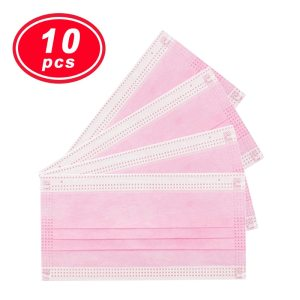 10PCS YIGANERJING Non Woven Disposable Face Mask pink mask 3 Layers Earloop Masks Bacteria Proof Face Mouth Mask medical mask