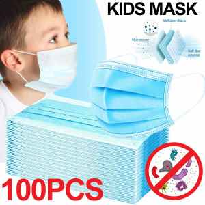 100/50pcs Disposable Mask Face Mouth Mask Non-Woven Prevent Anti-Dust 3 Layers Anti Influenza Earloops Masks Child Kids