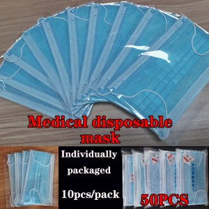 Medical Disposable Meltblown Cloth Mask Earloops Masks Dustproof Anti-fog Breathable Face Colth Masks Individually Packaged Mask
