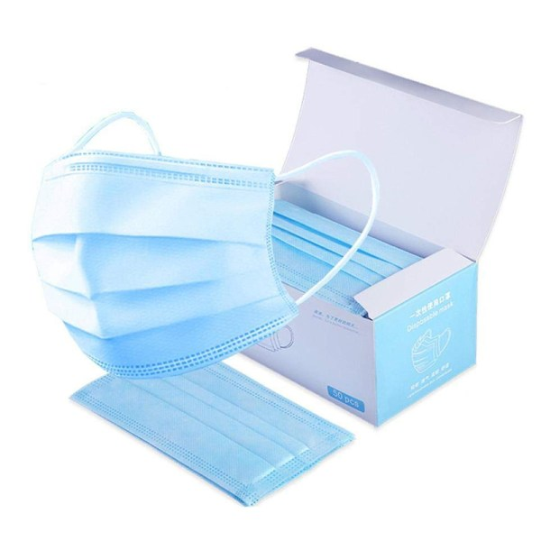 In Stock 50pcs/lot Disposable Mouth Mask Non-wove 3 Layer Men Women Face Mask