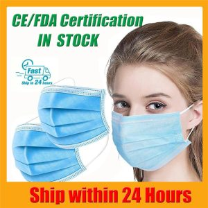 50pcs Mouth Face Mask Filter Adult Anti Fog Protective Maska Non Woven 3 Laye Pollution Dust Disposable Masks