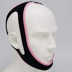 Anti-Snoring and Anti-Snoring Tape,Snoring Chin Strap,Snore Solution Reduction Sleep Aids.Adjustable Chin Support Headband (Black+Pink Edging)