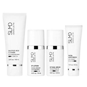 SLMD Skincare Acne System Kit! Salicylic Acid Clear Skin And Unclog Pores ! BP Lotion Kills Acne Causing Bacteria! Retinol Serum Perfect Skin Tone & Texture! Facial Moisturizer Hydrates And Brighten!