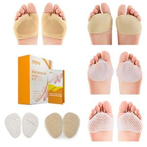 Metatarsal-Pads-Ball-of-Foot Kit, 12pcs, Metatarsal Gel Sleeves, Silicone Metatarsal Pads & Free Inserts, Fast Foot Pain Relief & All day Comfort, Sizes for Men & Women