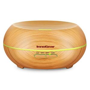 InnoGear Diffusers for Essential Oils, Wood Grain Essential Oil Diffuser Ultrasonice Aromatherapy Diffusers Aroma Cool Mist Humidifier with Timer Waterless Auto Off, 200ml, Yellow