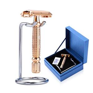 BAILI Luxury Gift Butterfly Open TTO Double Edge Safety Razor Wet Shaving for Men Women with 5 PLatinum Blades and Stand Rose Gold BD521G