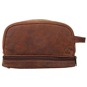 Genuine Leather Travel Cosmetic Bag - Hygiene Organizer Dopp Kit By Rustic Town (Brown)
