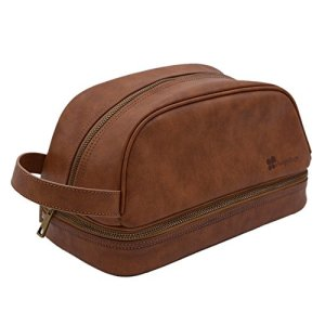Avigo Bags Leather Toiletry Bag Dopp Kit Shaver Bag With Organizer Pocket and Accessory Holders | Brown