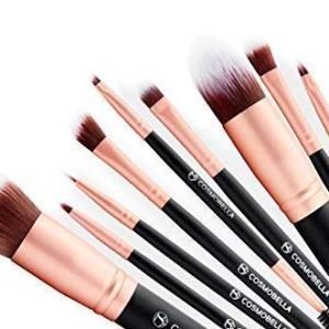 Cosmobella Premium Synthetic Kabuki Makeup Brush Set, Face Brushes Makeup Kit, Foundation, Concealers, Eye Shadows, Eye Liner, Ultra Soft, Silky, Firm, Non-Shedding - Luxury Black & Rose Gold (14Pcs)